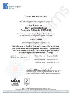 Optiforms ISO 9001 Certified