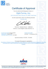 Optiforms, Inc. is proud to be ISO 9001:2015 certified.